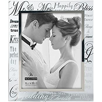 malden international designs mirrored glass with silver metal inner border mr and mrs picture - Mr And Mrs Picture Frame