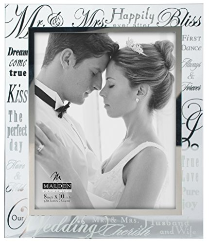 (Malden International Designs Mirrored Glass With Silver Metal Inner Border Mr. and Mrs. Picture Frame, 8x10, Silver)