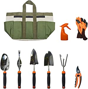 Janeflower 9-Piece Garden Tool Set, Heavy-Duty Gardening Tool Stainless Steel with Soft Rubber Anti-Skid Handle Tool, Durable Storage Tote Bag, (JF000006)