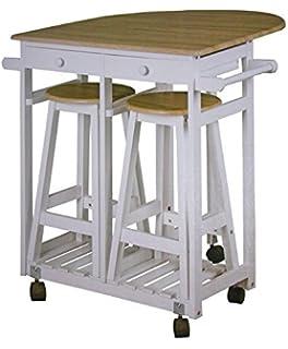 Hochwertig Dynamic24 Küchenbar Auf Rollen + 2 Hocker Küchentisch Klappbar Tresen Tisch  Sitzgruppe Küche Bar Theke