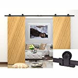 WINSOON 7.5FT WinSoon Antique Top Mount Double Sliding Barn Wood Door Hardware Cabinet Kit Black