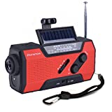 iRonsnow IS-090 Dynamo Emergency Solar Hand Crank Self Powered AM/FM/NOAA Weather Radio, with 2000mAh Power Bank, Flashlight, Reading Lamp and SOS Alarm (Red)