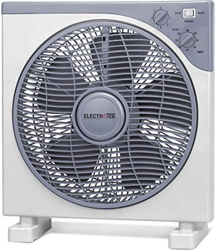 ELECTROTEK Ventilador Cuadrado de 12 cm. de diámetro con Temporizador de 2 Horas. Potente (40W): Amazon.es: Hogar