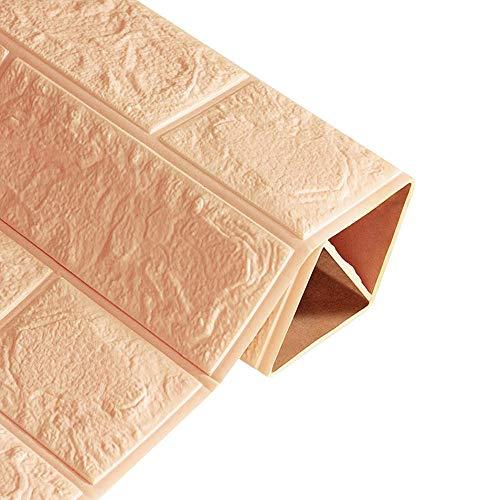 PE Foam 3D Wallpaper DIY Wall Stickers Wall Decor Embossed Brick Stone 24×24 Inch (Khaki, 60×60 cm) -