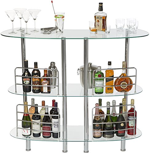 Mango Steam Contemporary Modern Home Bar Clear Catalina Tables, Tempered Glass