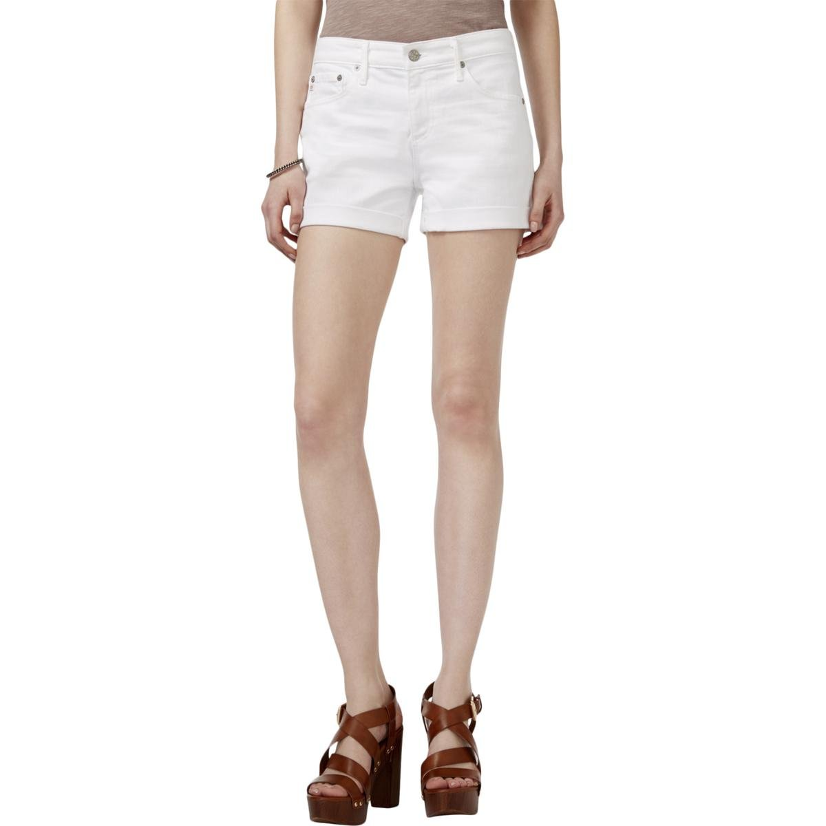 AG Adriano Goldschmied Women's Hailey Ex-Boyfriend Roll-Up Short In One-Year White OSD1489
