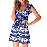 Summer Women's Beach Mini Dress Ruffle Sleeve Floral Print Button Swing A Line Sundress (Blue, S)