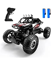 DEERC DE45 RC Car, Remote Control Car 1:14 Off Road Monster Truck,Metal Shell 4WD Dual Motors LED Headlight Rock Crawler,2.4Ghz All Terrain Hobby Truck with 2 Batteries for 90 Min Play,Boy Adult Gifts