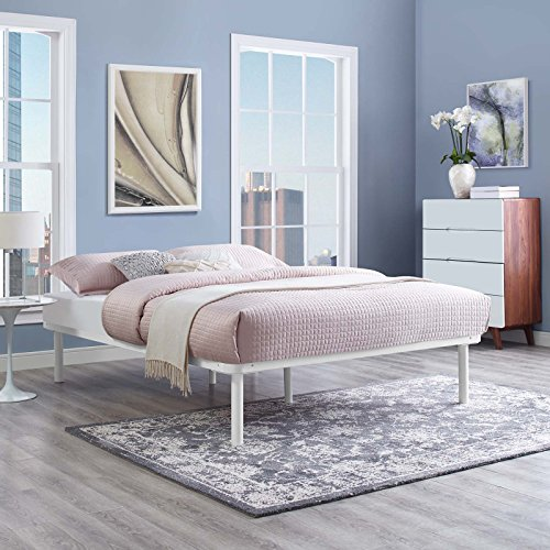 Birch Metal Bed - Modway MOD-5549-WHI Rowan Queen Platform Bed Frame, White