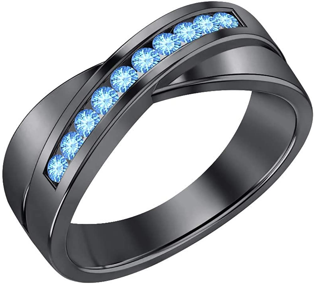 SVC-JEWELS 14K Black Gold Over 925 Sterling Silver Round Cut Blue Topaz Criss Cross X Wedding Band Ring Men