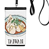 Food Beef noodles Taiwan Travel Faux Leather Smartphone Hanging Purse Black Phone Wallet Gift
