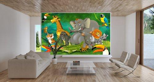 Poster kinderzimmer dschungel tiere wandbild dekoration jungle ...