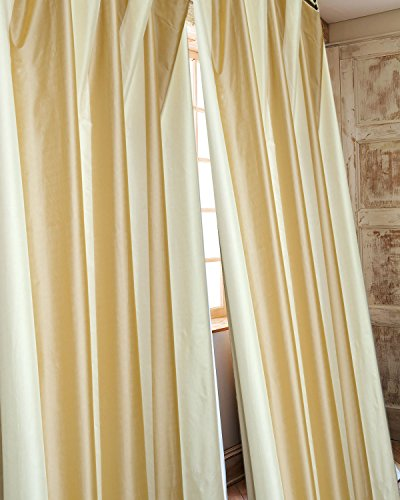 Hampton ivory and beige tone striped faux silk curtain/panel/drape (Ivory and Beige, 52
