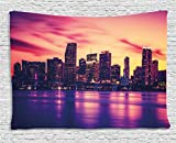 Ambesonne United States Tapestry by, View of Miami at Sunset Building Urban Modern City Life Ocean Skyline, Wall Hanging for Bedroom Living Room Dorm, 60 W X 40 L Inches, Purple Pink Peach