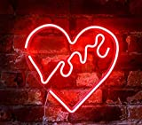 "Isaac Jacobs 14"" inch LED Neon Red ""Love"" Heart Wall Sign for Cool Light, Wall Art, Bedroom Decorations, Home Accessories, Party, and Holiday Decor: Powered by USB Wire"