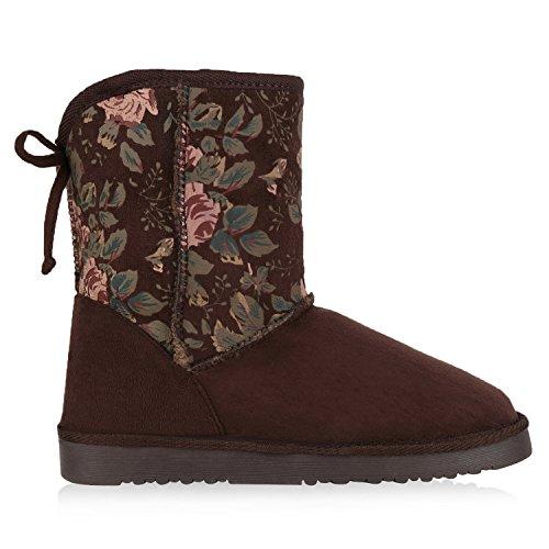 napoli-fashion Damen Schuhe Winter Stiefeletten Schlupfstiefel Kunstfell Gefüttert Jennika Dunkelbraun Muster