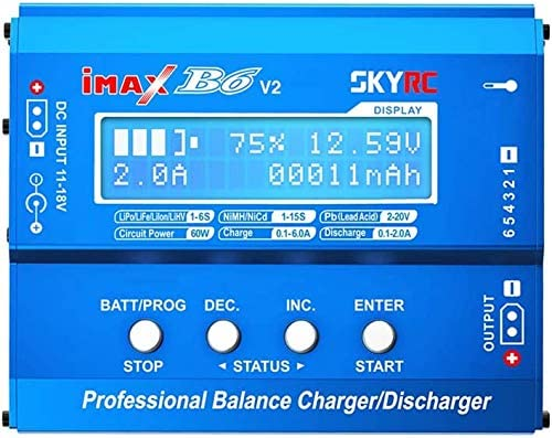 YUNIQUE FRANCE 1 pièce SKYRC iMAX B6 V2 Chargeur de 60 W 6A Convertisseur CC/CC Compatible avec DJI Mavic Inspire Batterie Intelligente NiMH / NiCd / Lipo / LiHV / Li-ion / Pb