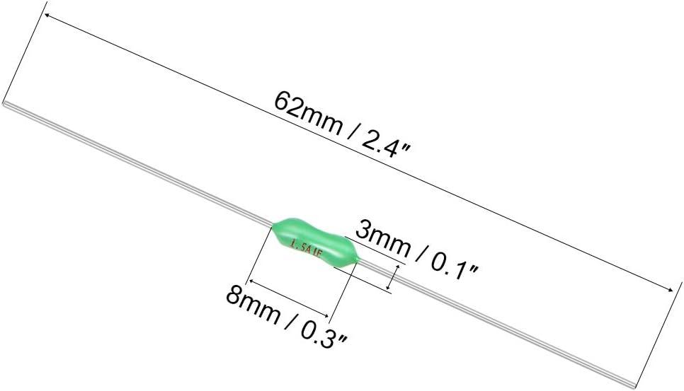 sourcing map Fusible Pico 250V 1.5A C/âble axial soufflage rapide 3mm x62mm T/él/écommunications 20Pcs