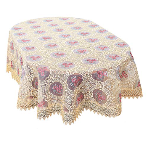 Simhomsen Vintage Beige Tablecloth Linen Embroidered Floral Lace Pattern Translucent Gauze Oval 60