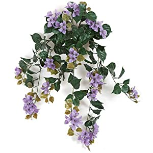 "SilksAreForever 36"" UV-Proof Outdoor Artificial Bougainvillea Flower Bush -Purple (Pack of 4) 29"