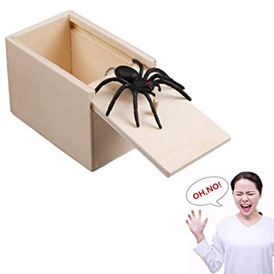 Hacloser Scary Box Spider Jump Prank Wooden Scarybox Joke Gag Toy Hilarious No Word: Toys & Games