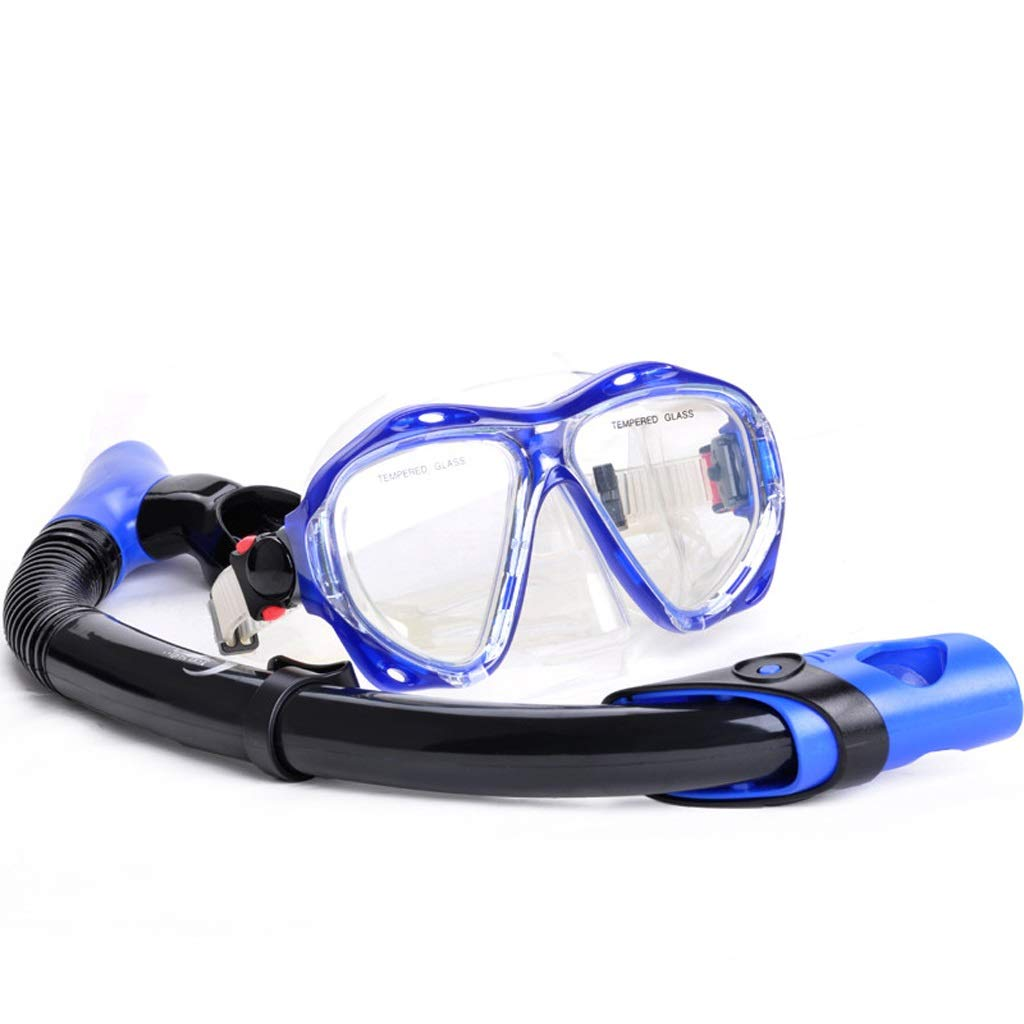 Diving Masks Scuba Diving Swimming Mask Set Anti-Fog Underwater Snorkeling Mask Equipment Four Lens Mask Dry Snorkel Snorkelling Masks (Color : Clear, Size : with Breathing Tube) by LF stores-Diving Masks