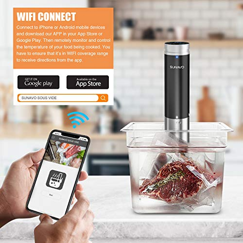 SUNAVO Sous Vide Cooker,WIFI Immersion Circulator Machine 1000W,Thermal Immersion Circulator with Accurate Temperature & Timer Setting,Digital Display Stainless Steel SV-20 by sunavo (Image #2)