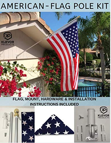 American Flag Pole Kit 3x5 US Nylon Flag Set, Wall Mount and Bracket 6FT Silver Brushed Aluminium Pole for Outdoor or Indoor Use Good for House Commercial Residencial Truck or -