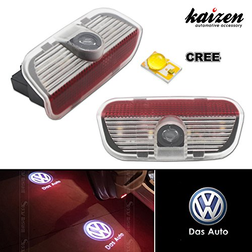 Kaizen 2 Pcs OEM Fit Super Bright LED Laser Ghost Shadow CREE Door Step Courtesy Welcome Light Lamps For VW Golf GTi EOS CC Polo Jetta Passat CAN-bus No Error Type VW Das Auto
