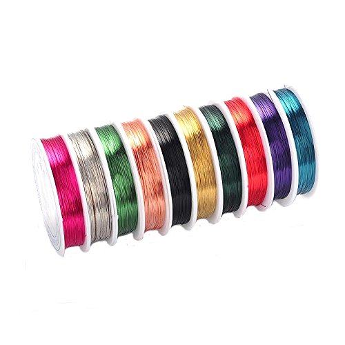 10Rolls Copper 0.8mm Jewelry Beading Wire Mixed Color Enameled Copper Metal Wire DIY Craft Beading Wire Jewelry Making Cord