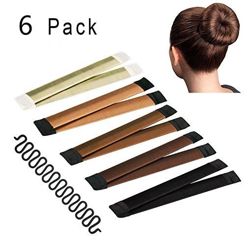 Hair Bun Maker, Instant Hair Bun Making Tool with French Braid Tool, 6 Pack