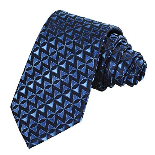 (KissTies Navy Blue Tie Arrow Triangle Geometric Patterned Necktie + Gift)