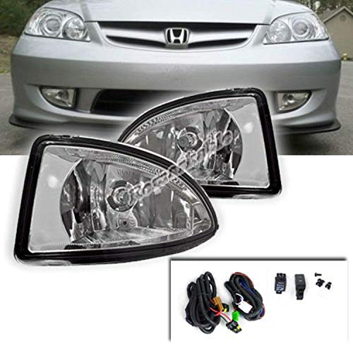 Remarkable Power FL7041 Fit For 2004 2005 Hondaa Civic 2/4DR Clear Fog Light Kit