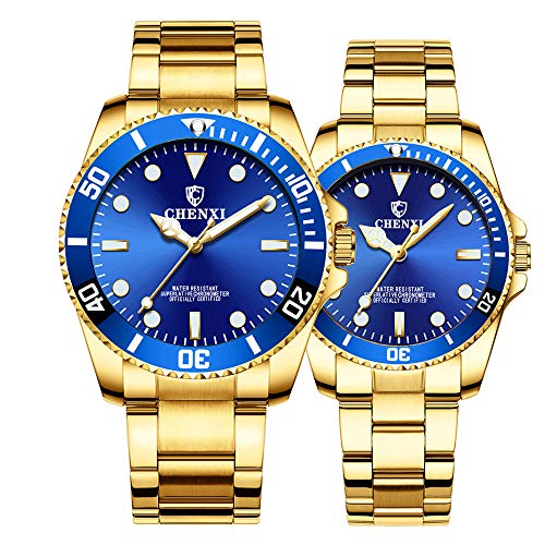 Couple Watches Classic Golden Stainless Steel Watch His and Hers Waterproof Quartz Watch Gifts Set of 2 (Gold - Watch Hers Set