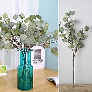 zzJiaCzs Artificial Eucalyptus Plant,1Pc Fake Eucalyptus Greenery Wedding Decor Plant DIY Bridal Bouquet Wreath - Grey White 115