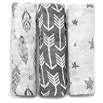 Muslin-Swaddle-Blanket-Set-Wanderer-Large-47×47-inch-Super-Soft-Bamboo-Blankets-Arrow-Feather-and-Stars-3-Pack-Baby-Shower-Gift-Bundle-of-Swaddles-for-Boys-and-Girls-10000-Wash-Warranty