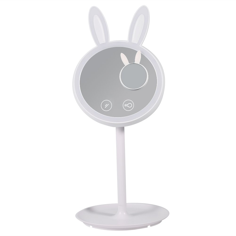 LED Vanity Cosmetic Makeup Mirror Light, Rabbit Shape Double Side Adjustable Mirror with 7x Magnifying Table Countertop Mirror Stand or Handheld