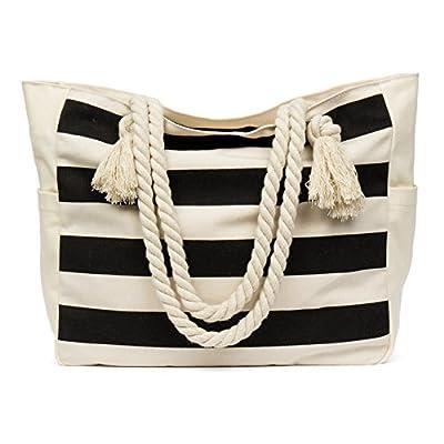 44dea06538f3 Malirona Large Beach Travel Tote Bag Canvas Shoulder Bag with Cotton ...