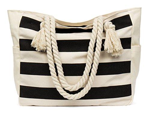MalironaBeachCanvasTravelToteBag (Black Stripes) -