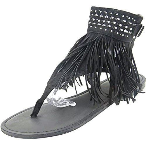 NiSeng Mujer Verano Borlas Plana Sandalias Diamante De Imitación Con Cuentas Zapatos Clip Toe Zapatillas Sandals Negro