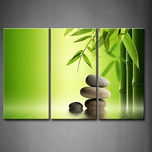 First Wall Art   3 Panel Wall Art Green Spa Still Life With Bamboo And Four