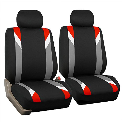 (FH Group FB033RED102 Bucket Seat Cover (Modernistic Airbag Compatible (Set of 2) Red))