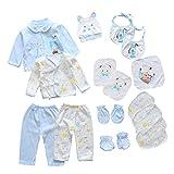 18pcs Unisex Newborn Baby Boy Girl Clothes Sets, 0-6 Months Infant Outfits, Essentials Accessories (Blue)