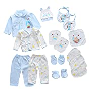 18pcs Unisex Newborn Baby Boy Girl Clothes Sets, 0-6 Months Infant Outfits, Essentials Accessories (Blue)