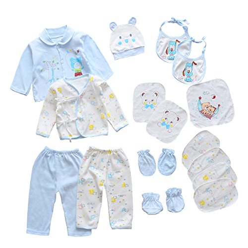 18pcs Unisex Newborn Baby Boy Girl Clothes Sets, 0-6 Months Infant Outfits, Essentials Accessories (Blue) from Smgslib