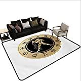 Indoor Floor mat,Horoscope Chart with Twelve Signs Planets Sun Moon Spiritual Symbol 6'6''x9',Can be Used for Floor Decoration