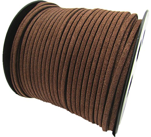 (100 Yards Jewelry Making Flat Micro Fiber Lace Faux Suede Leather Cord (12 Colors) (Brown))