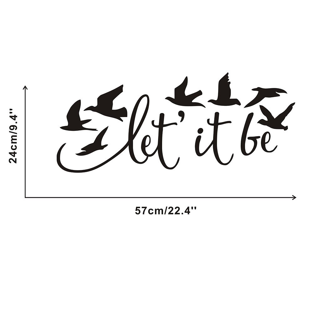 Arttop Let It Be Wall Decal Flying Birds Wall Decals Music Room Inspirational Art Decoration Lettering stickers Home Decor,black