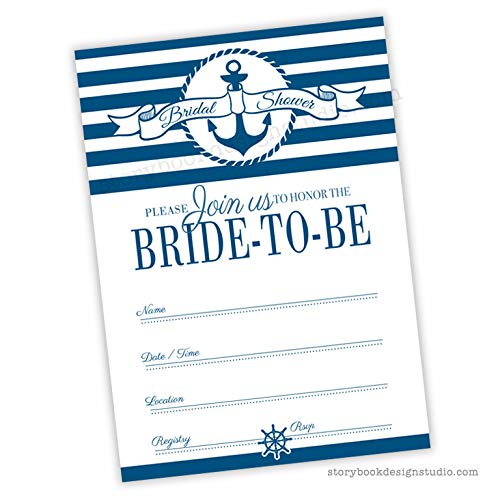 Nautical Bridal Shower Invitations (Set of 25) Envelopes Included, Fill in Style -