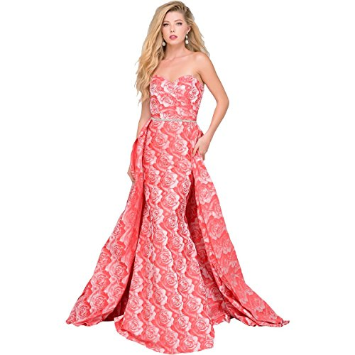 Evening Dresses By Jovani (Jovani Rhinestone Panel Train Formal Dress Pink 0)